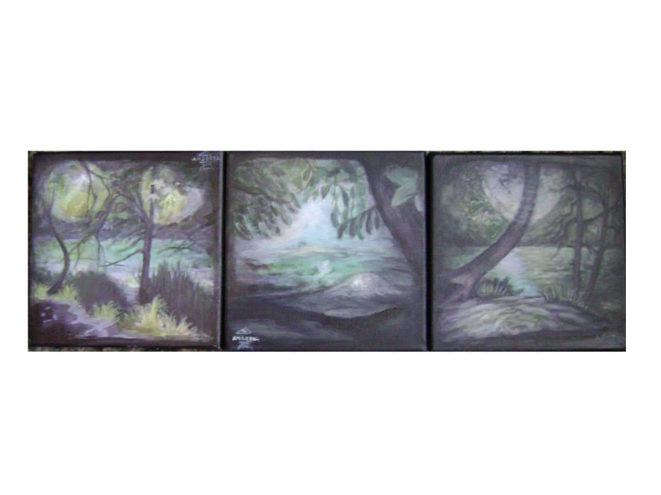 Andreea Rus , In Light (59,60,61), 3x20-20 cm. acrilyc on canvas, 2014.