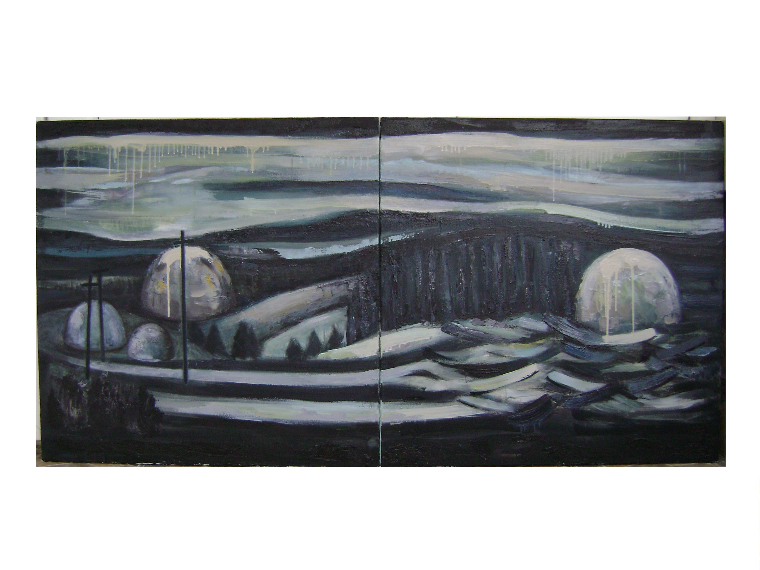 Andreea Rus, In Light (73), tehnica mixta pe panza, diptic, 80-160 cm., 2015